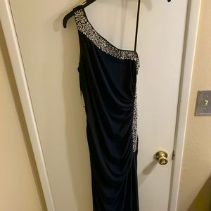 Navy Blue One Shoulder Prom Dress Ball Gown